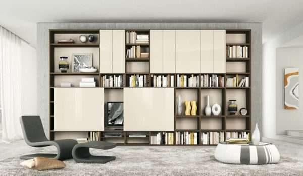 шкаф с открытыми полками для гостиной в современном стиле