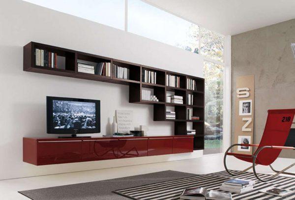 шкаф с открытыми полками в гостиной в современном стиле