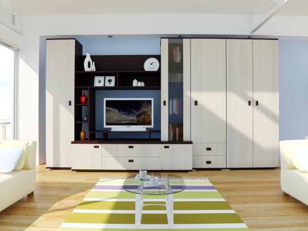 белый шкаф в гостиной