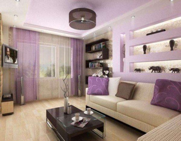 сиреневые шторы в интерьере гостиной в фиолетовых тонах