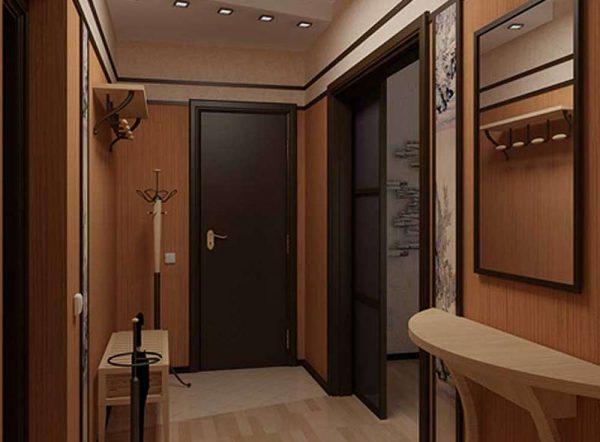 коричневый интерьер прихожей в квартире