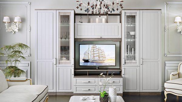 белая стенка в стиле прованс под телевизор в гостиную