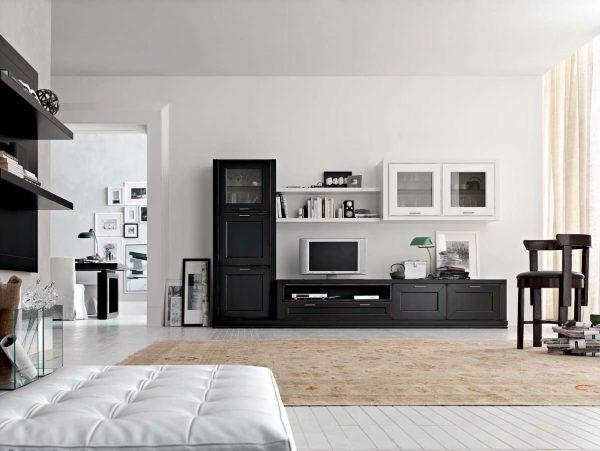 чёрно-белая стенка под телевизор в гостиную