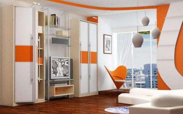 оранжево белая стенка под телевизор для гостиной