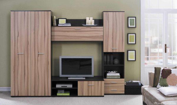 коричневая модульная стенка под телевизор в гостиную