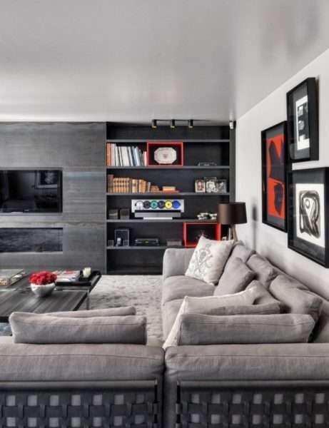 серая стенка под телевизор в гостиную