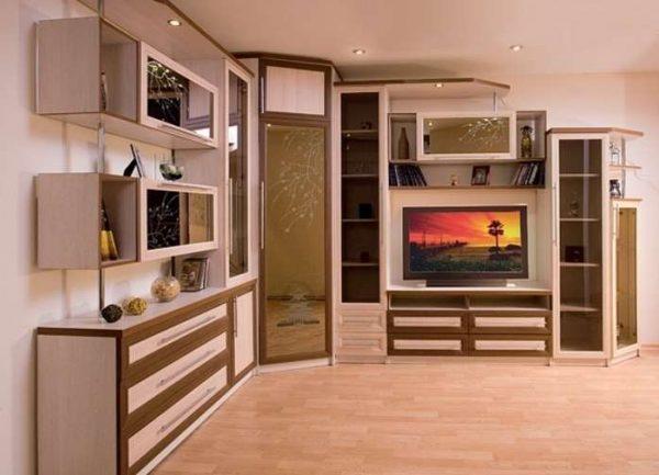 угловая стенка в гостиную с телевизором и шкафом