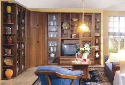 угловая стенка для гостиной в классическом стиле