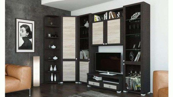 чёрно-белая угловая стенка в гостиной