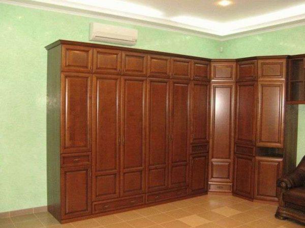 коричневая угловая стенка для гостиной
