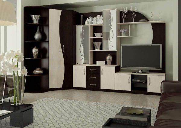 коричнево-белая угловая стенка для гостиной