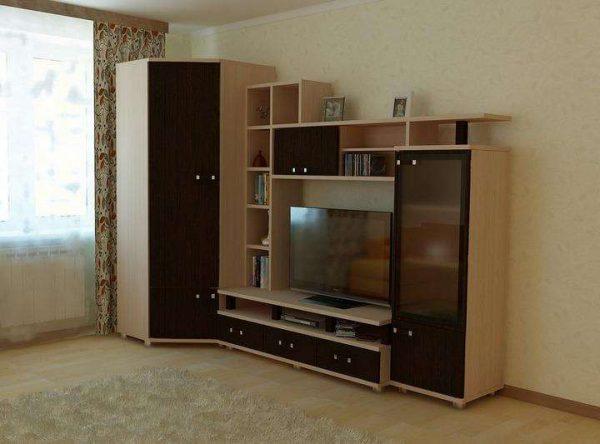 небольшая угловая стенка для гостиной с нишей под телевизор