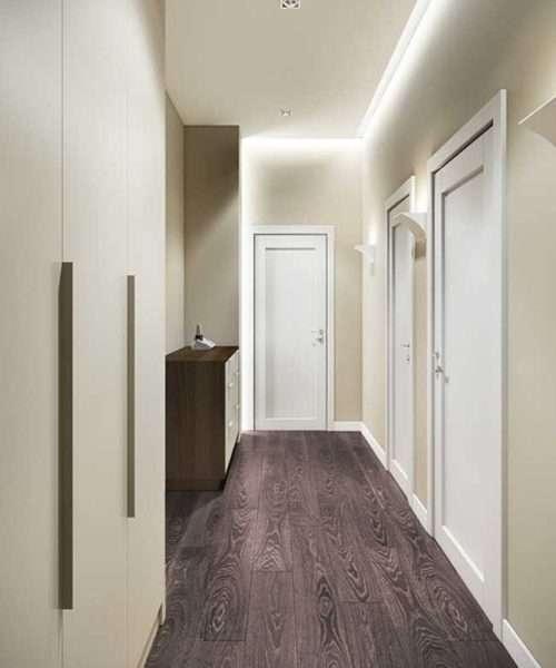 узкий коридор в стиле минимализм