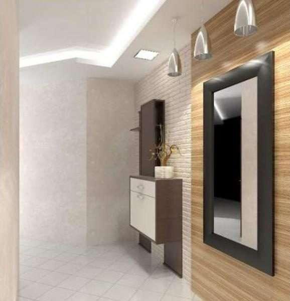 белый многоуровневый потолок в прихожей