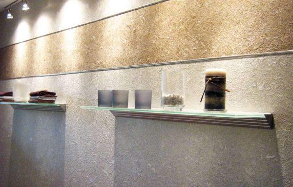 жидкие обои двух цветов в коридоре