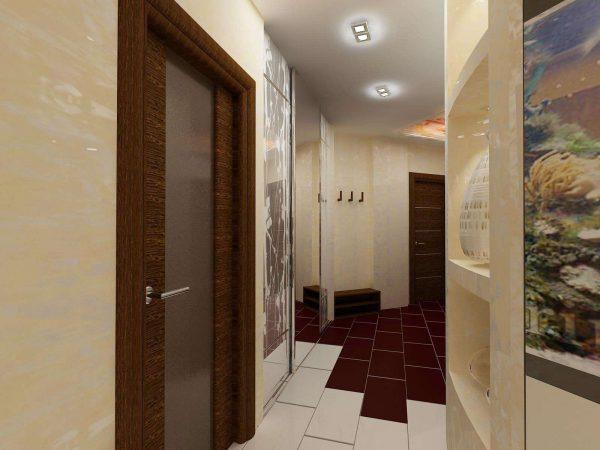 бежевый интерьер в коридоре панельного дома