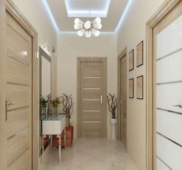 бежевый интерьере коридора в квартире