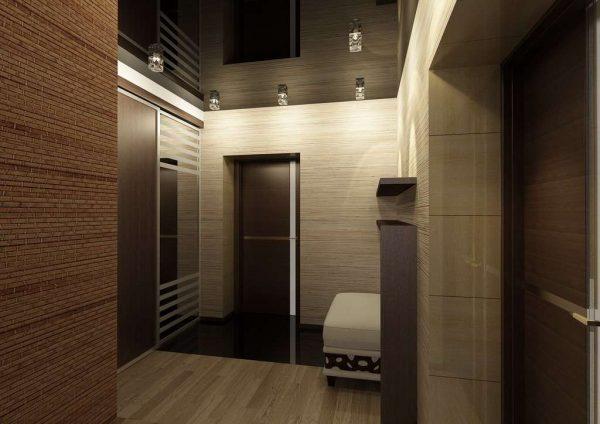 коричневый интерьер коридора в квартире