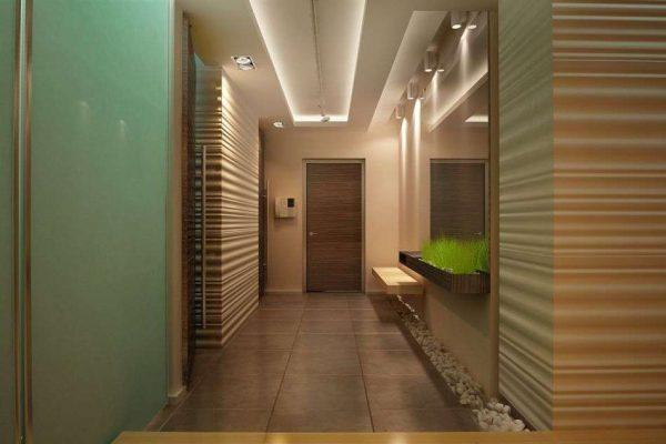 мятный цвет стен в прихожей в японском стиле