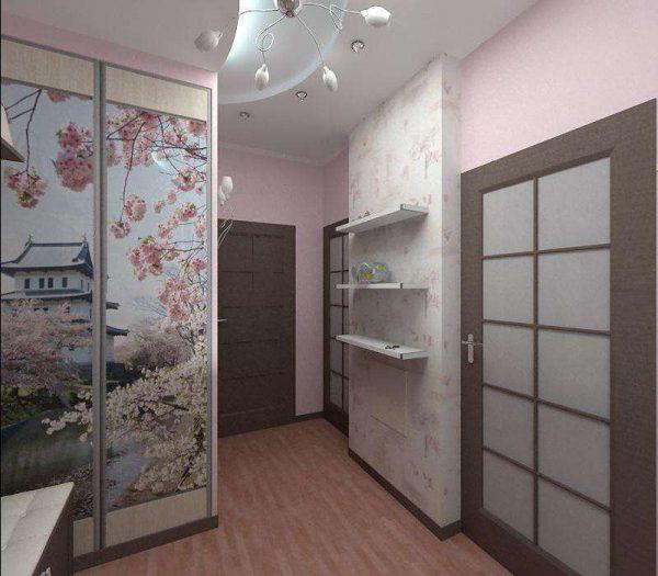 рисунок на шкафу в прихожей в японском стиле