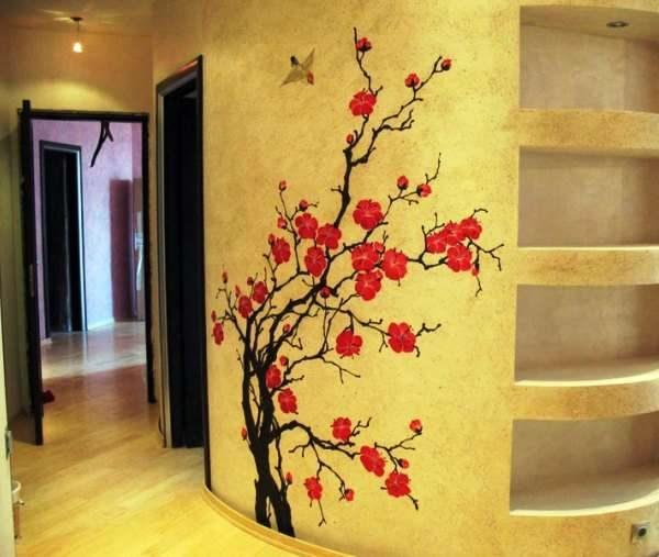 цветущая сакура в прихожей в японском стиле
