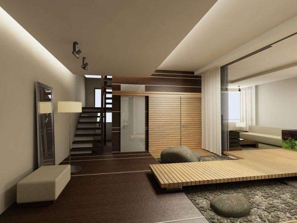 просторная прихожая в японском стиле