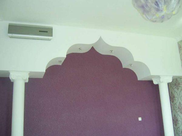 восточная арка из гипсокартона на кухне