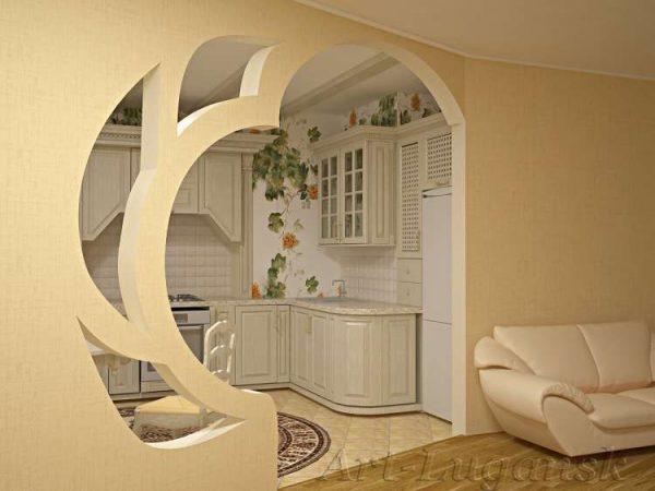 арка оригинальная из гипсокартона на кухню