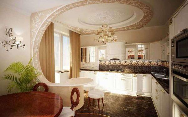 декоративная арка из гипсокартона на кухне