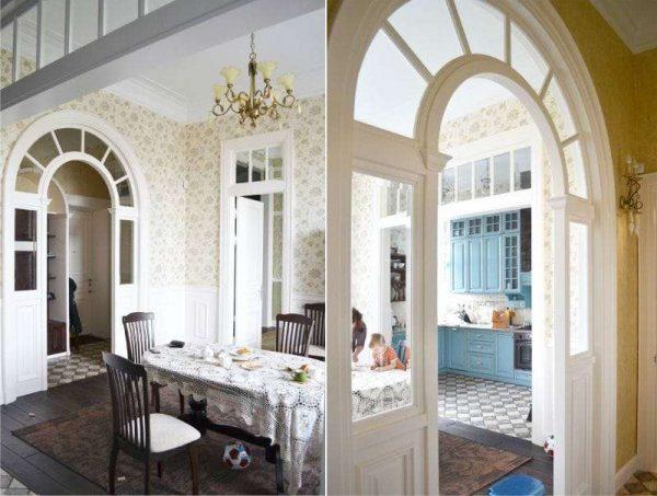 индивидуальный проект арки из гипсокартона для кухни
