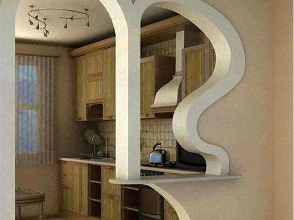 фигурная арка из гипсокартона на кухню