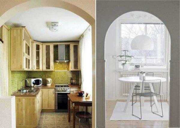 виды арок на кухню из гипсокартона
