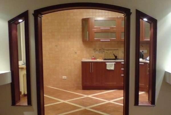 оригинальная арка из гипсокартона на кухню