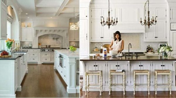 белая кухня с чёрной столешницей в классическом стиле