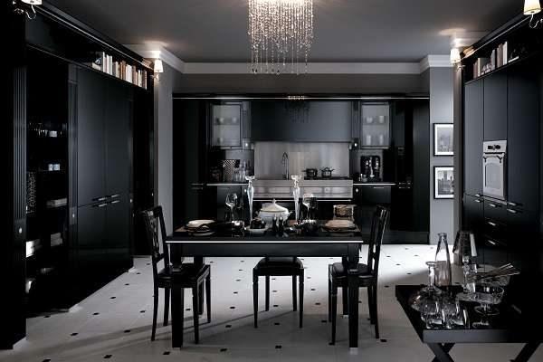 интерьер чёрной кухни в стиле арт деко