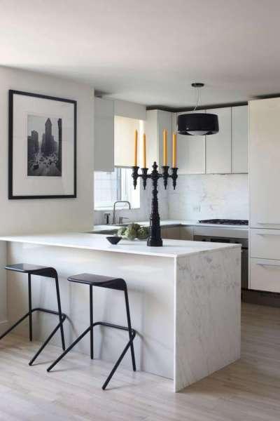 интерьер чёрно-белой кухни