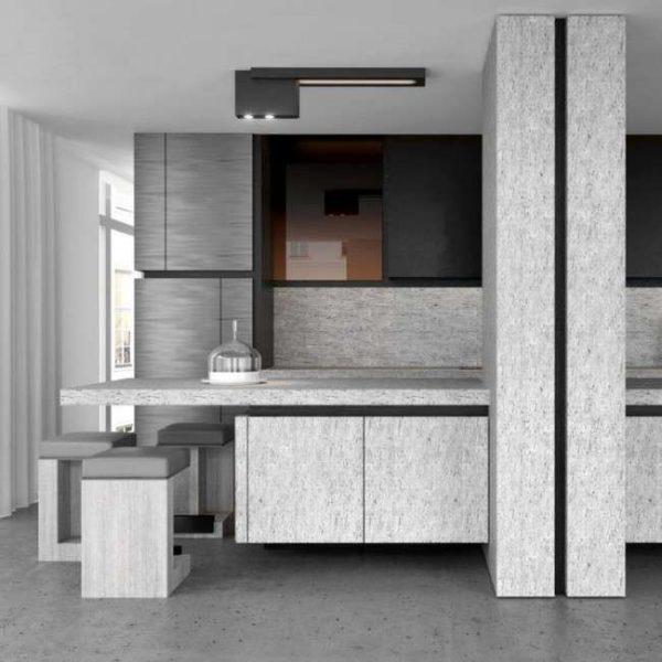 интерьер чёрно-серой кухни