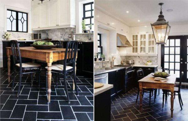 полы из чёрного керамогранита в интерьере чёрно-белой кухни