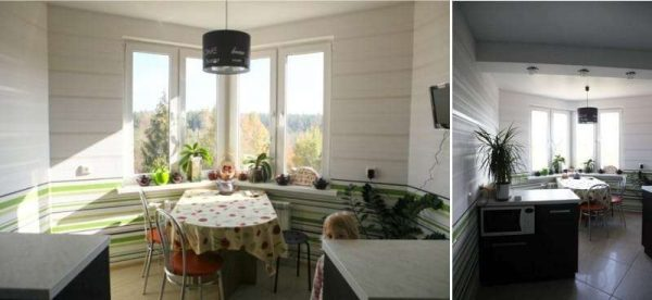 стол на кухне с угловым эркером
