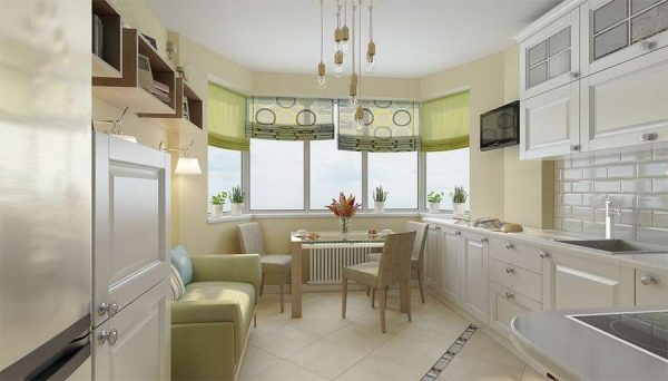 кухня с эркером и диваном