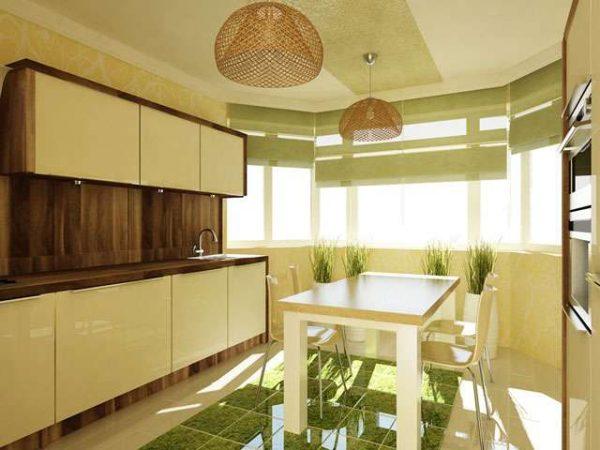 эко стиль на кухне с эркером