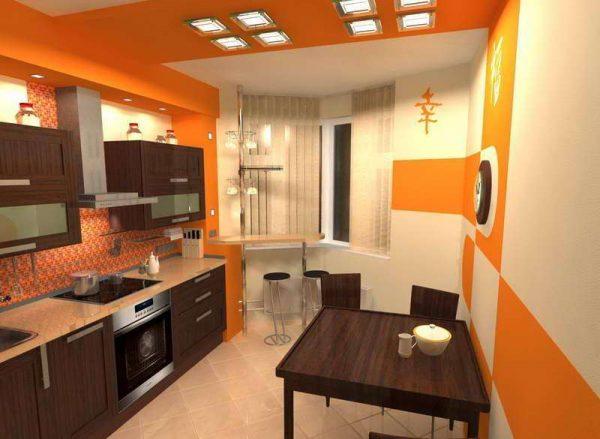 оранжевый интерьер кухни с эркером