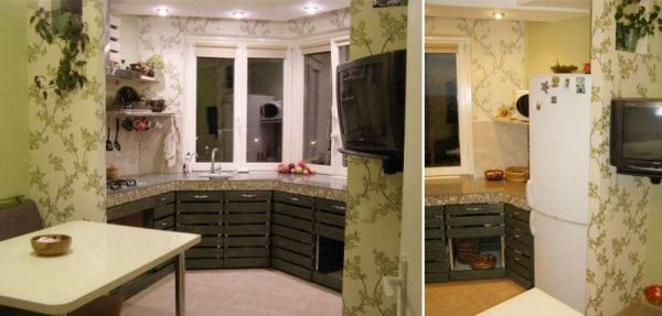 выдвижные шкафы на кухне с эркером