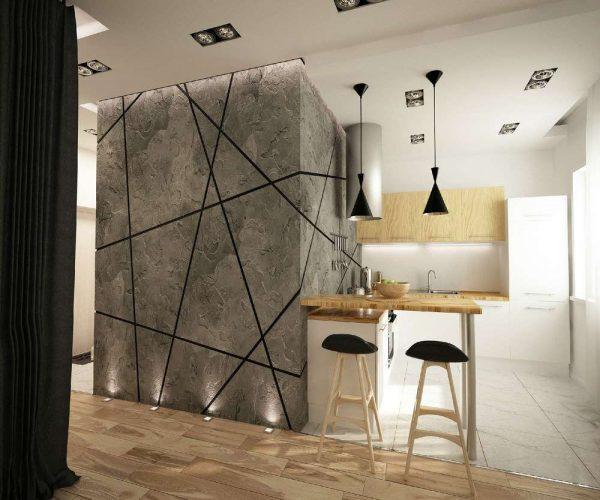 штукатурка под бетон в интерьере кухни