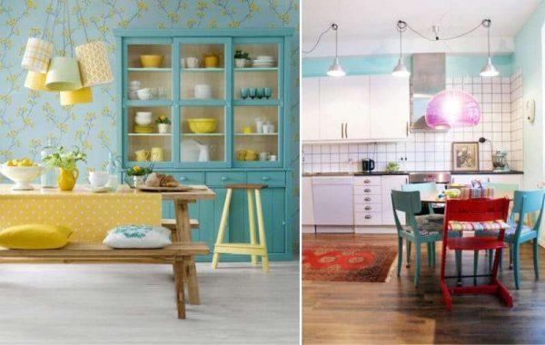дизайн кухни в светлых тонах: голубой, жёлтый, красный