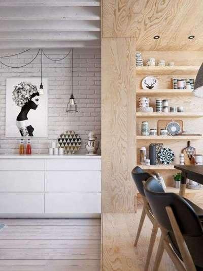 отделка светлой кухни в стиле лофт