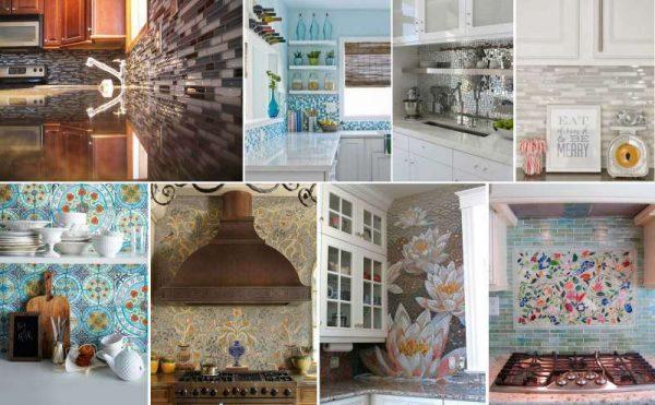 виды мозаичных фартуков в интерьере кухни
