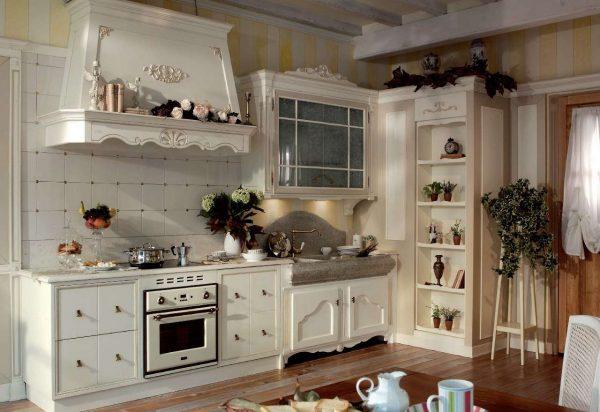фартук в интерьере кухни прованс