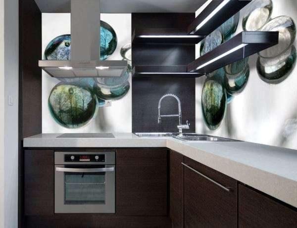 3D фотообои на кухне фартук