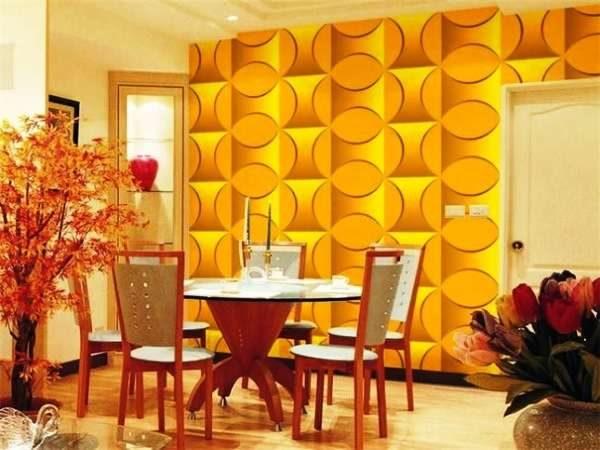 3д фотообои в интерьере кухни с орнаментом